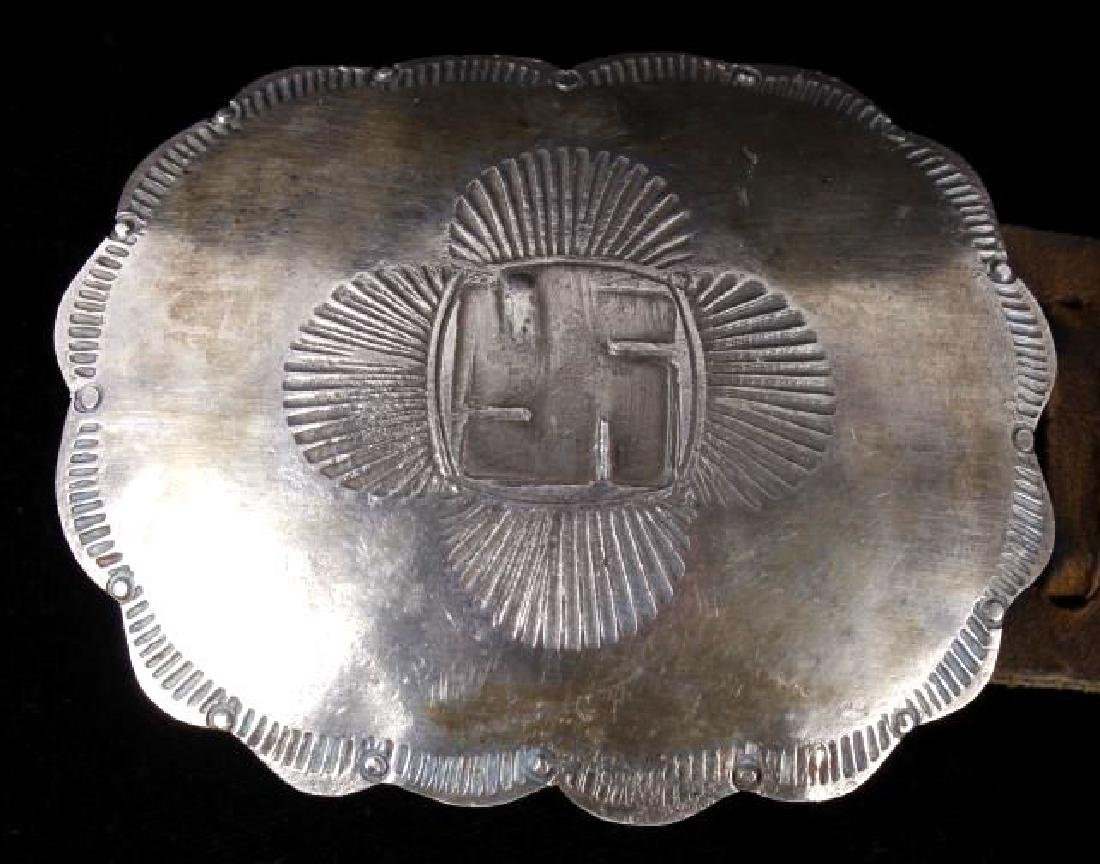 Navajo Whirling Log Silver Concho Belt c.1890-1910 - 5