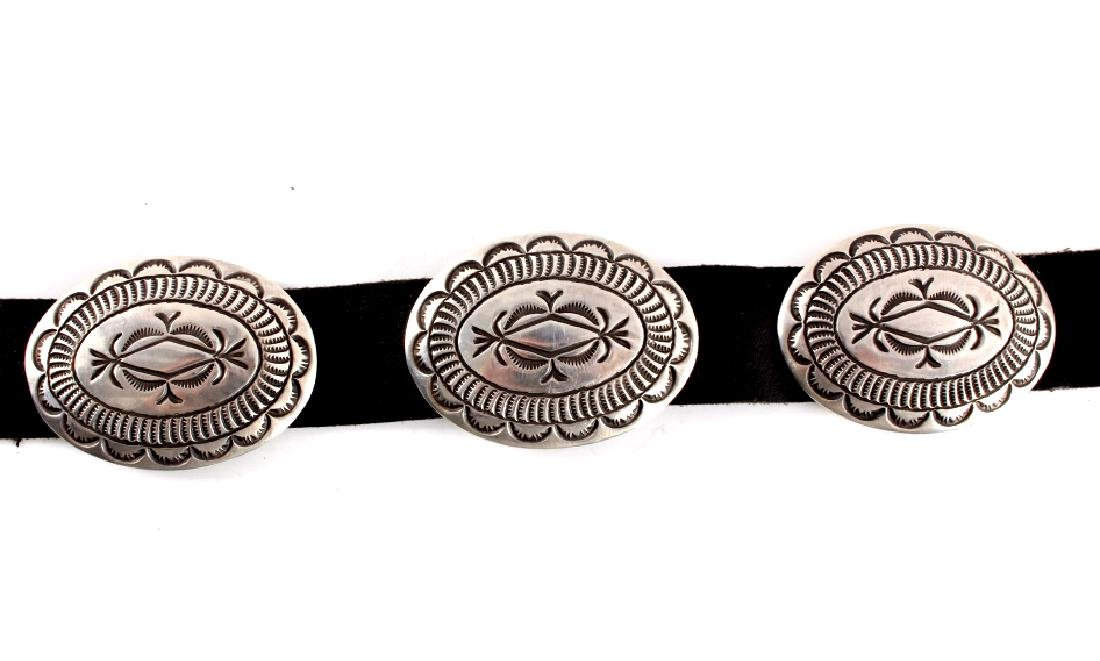 Navajo Cecil Henry Sterling Silver Concho Belt - 3