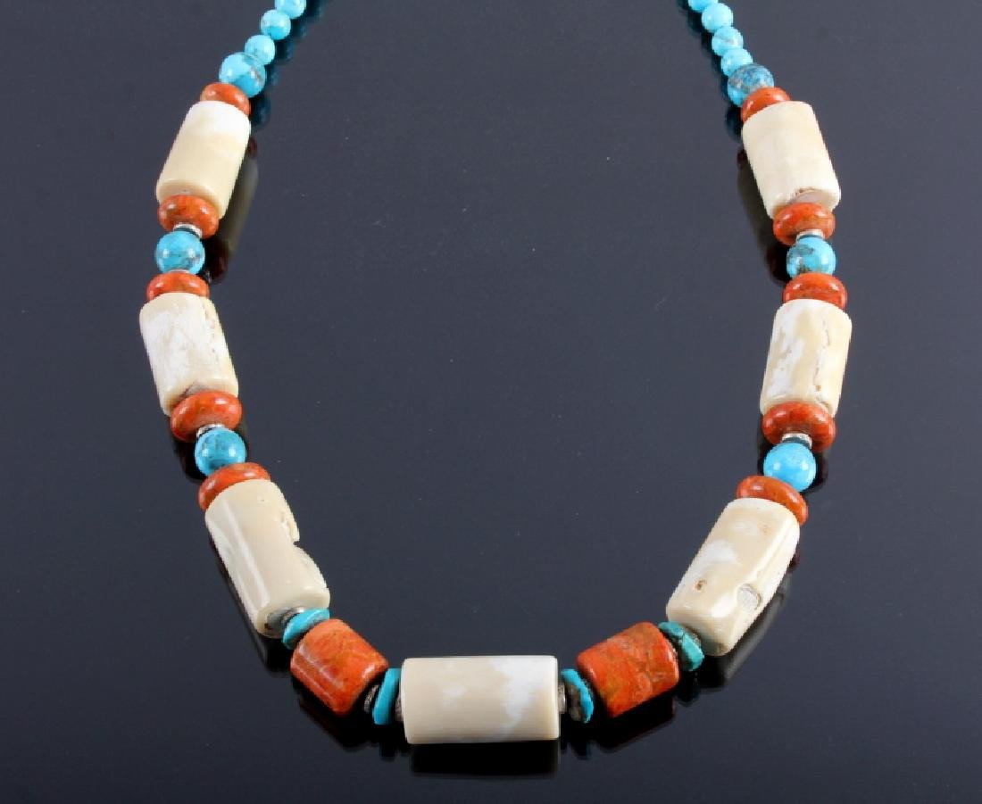 Signed Navajo Turquoise & White Coral Necklace - 2