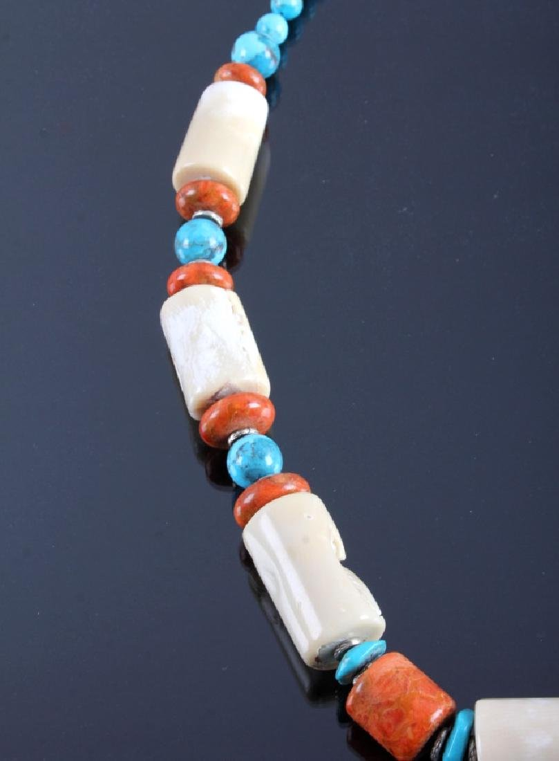 Signed Navajo Turquoise & White Coral Necklace - 4