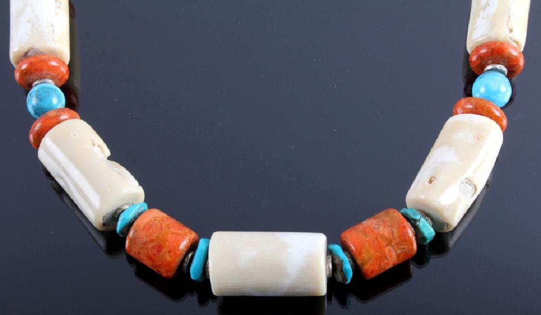 Signed Navajo Turquoise & White Coral Necklace - 6