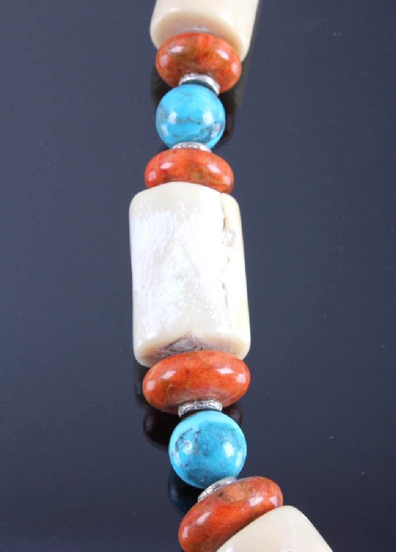 Signed Navajo Turquoise & White Coral Necklace - 7