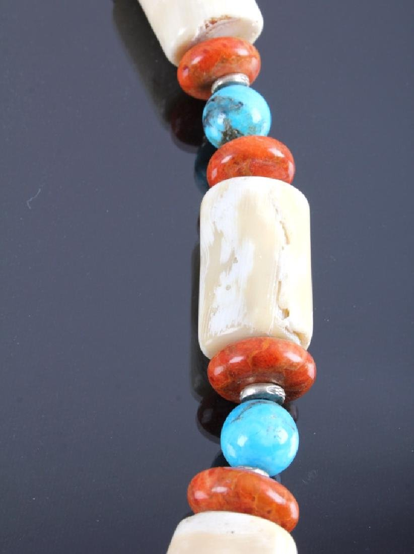 Signed Navajo Turquoise & White Coral Necklace - 8