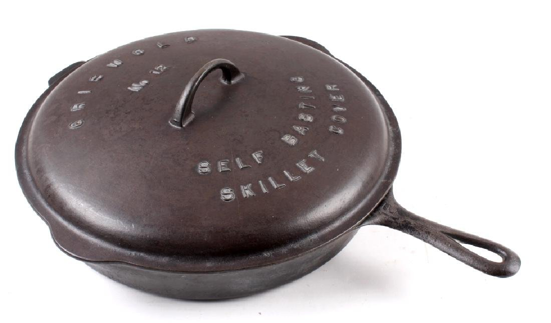 Griswold No. 12 Self Basting Skillet With Cover - 13