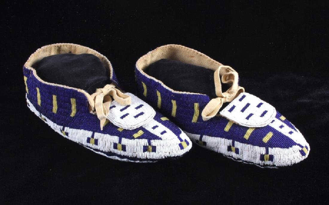 Blackfeet Native American Fully Beaded Moccasins - 2