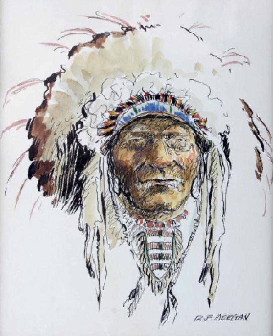 Original Robert Morgan Blackfoot Chief Painting - 3