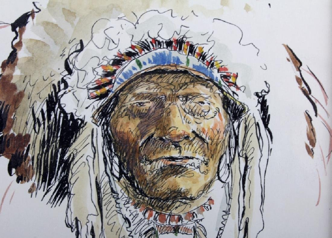 Original Robert Morgan Blackfoot Chief Painting - 5