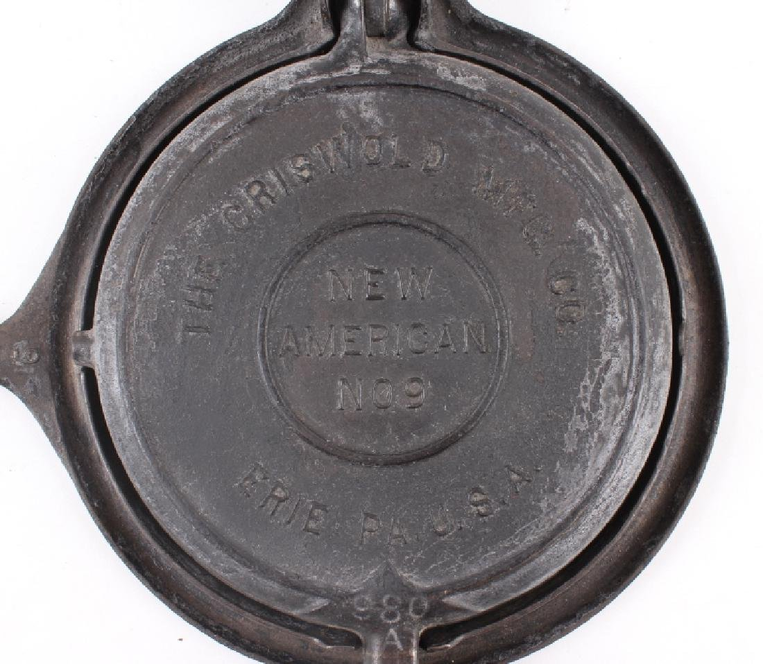 """Griswold """"New American"""" No. 9 Waffle Iron-Low Base - 3"""