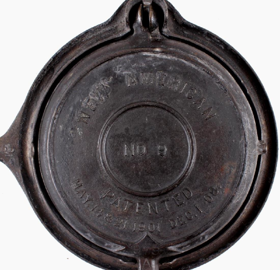 "Griswold ""New American"" No. 9 Waffle Iron-Low Base - 4"
