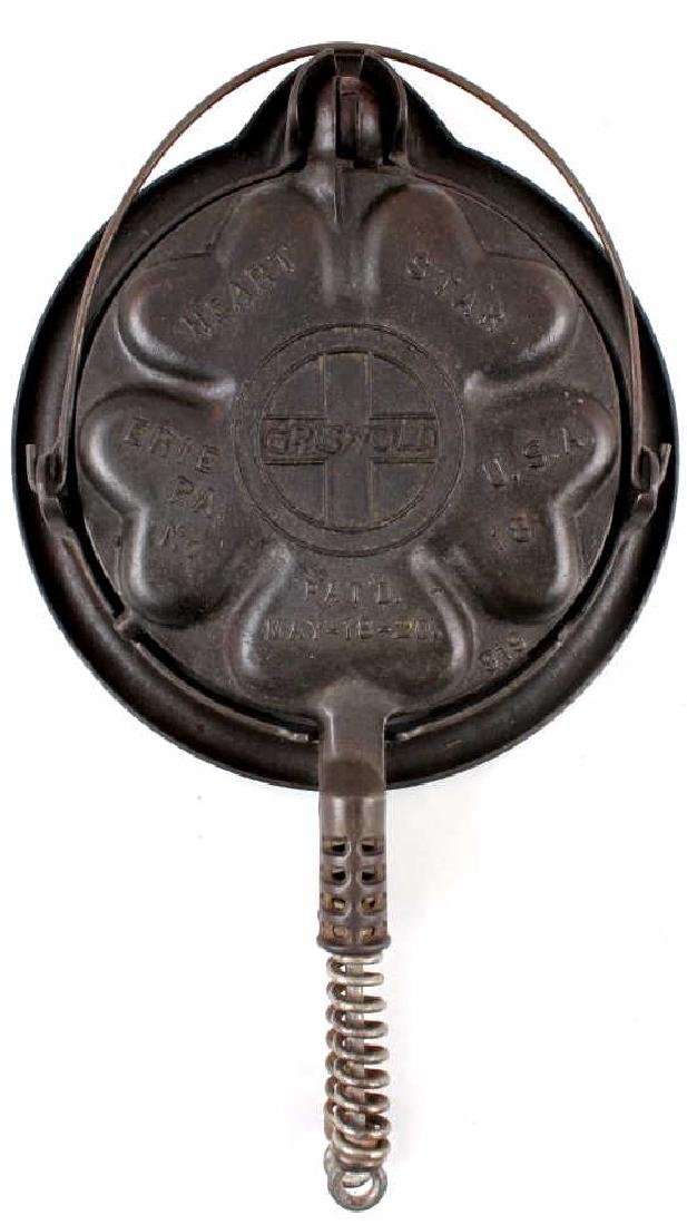 Griswold Heart-Star No. 18 Waffle Iron-Low Base - 13