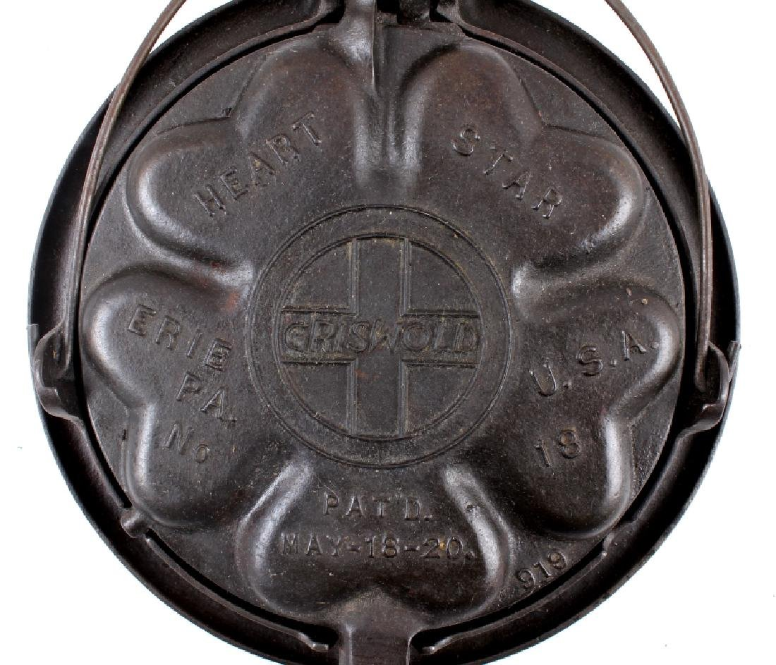 Griswold Heart-Star No. 18 Waffle Iron-Low Base - 4