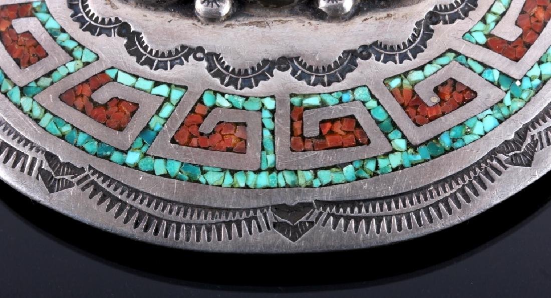 Navajo Sterling Silver Coral Turquoise Belt Buckle - 3