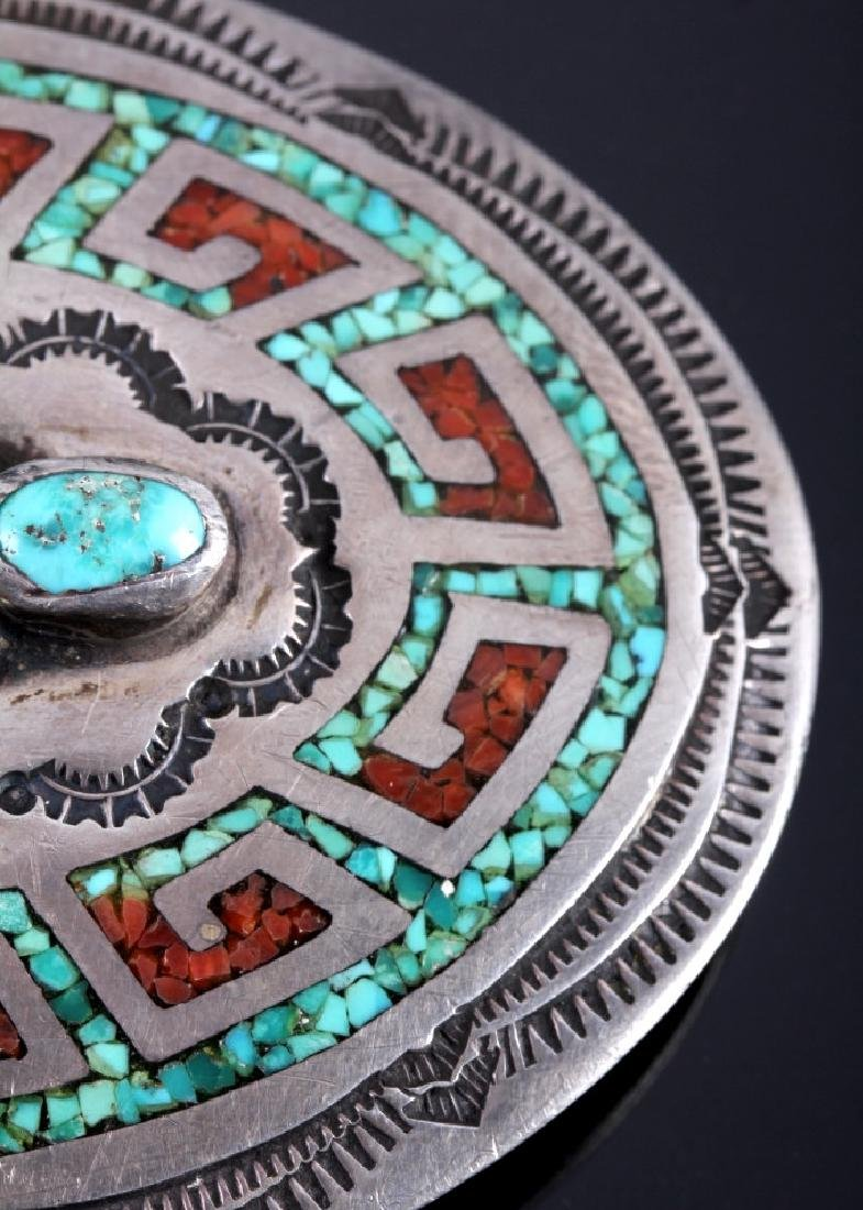 Navajo Sterling Silver Coral Turquoise Belt Buckle - 5