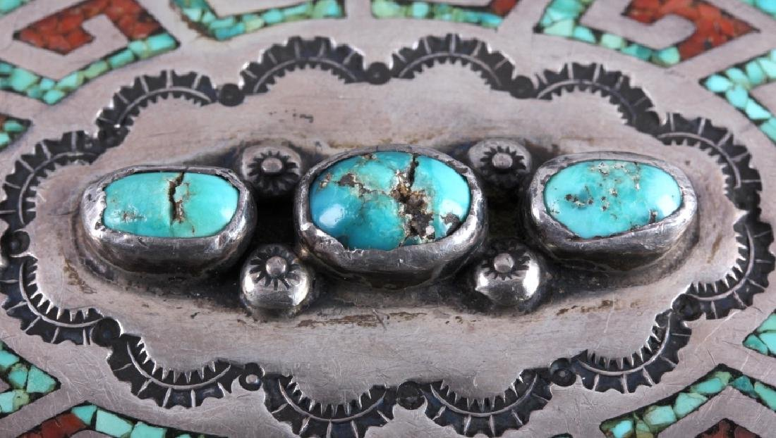 Navajo Sterling Silver Coral Turquoise Belt Buckle - 6