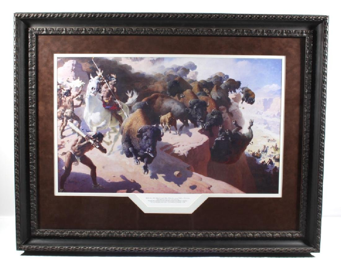 William R. Leigh - Buffalo Drive Framed Print