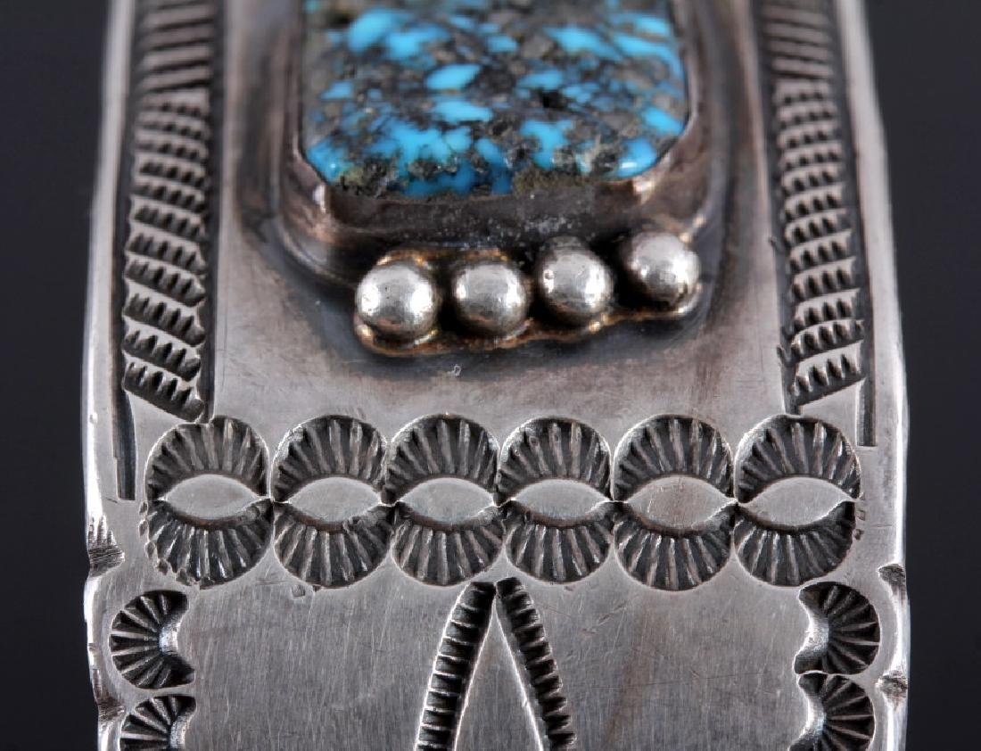 Signed Navajo Sterling Silver Turquoise Cuff - 11