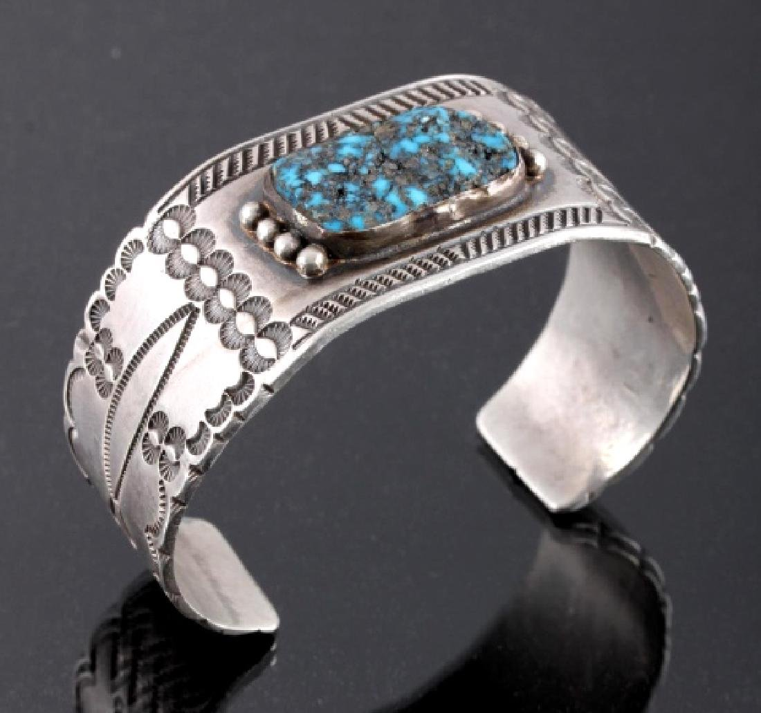 Signed Navajo Sterling Silver Turquoise Cuff