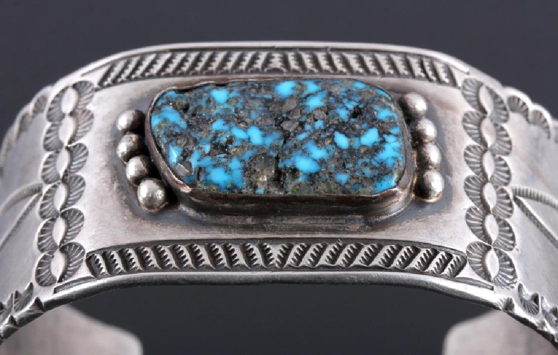 Signed Navajo Sterling Silver Turquoise Cuff - 4