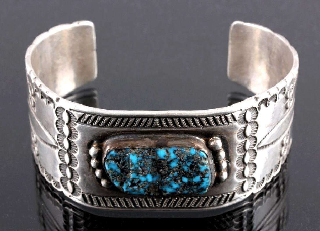 Signed Navajo Sterling Silver Turquoise Cuff - 7