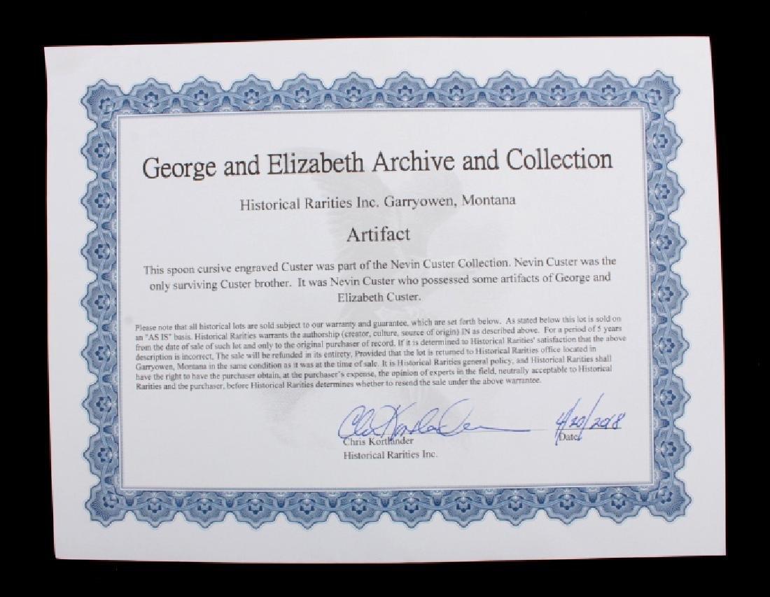 George & Elizabeth Custer Sterling Spoon w/ COA - 9