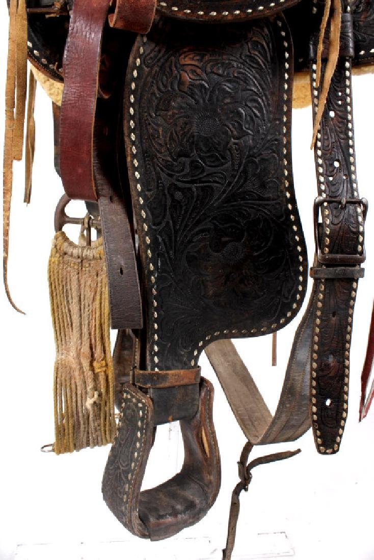 Antique Mexican Tooled Western Saddle - 11
