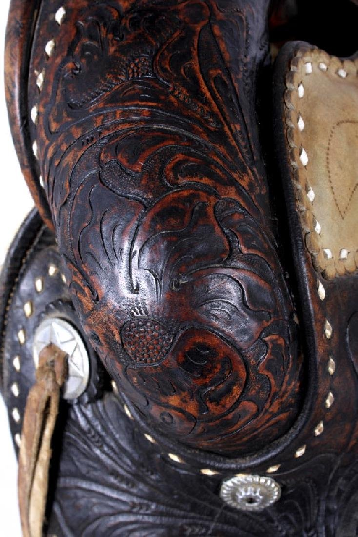 Antique Mexican Tooled Western Saddle - 13