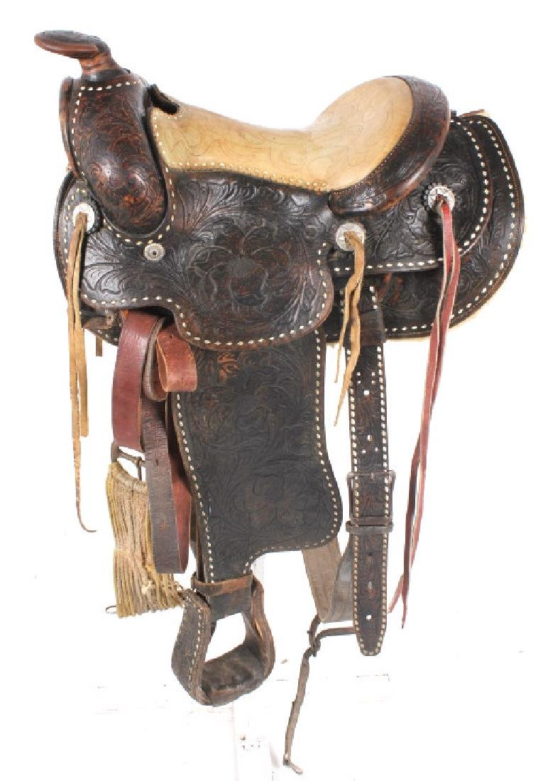 Antique Mexican Tooled Western Saddle