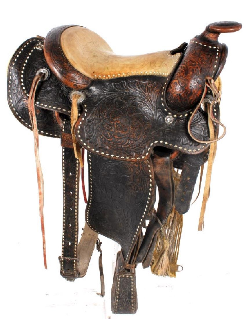 Antique Mexican Tooled Western Saddle - 2