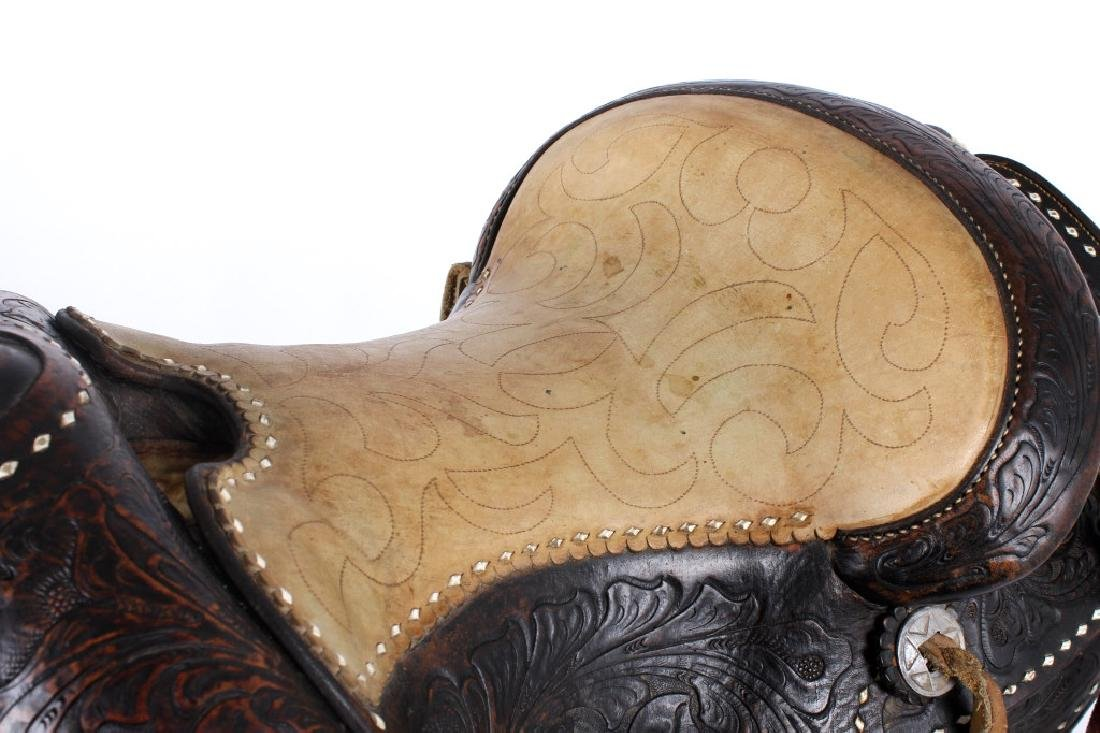 Antique Mexican Tooled Western Saddle - 5