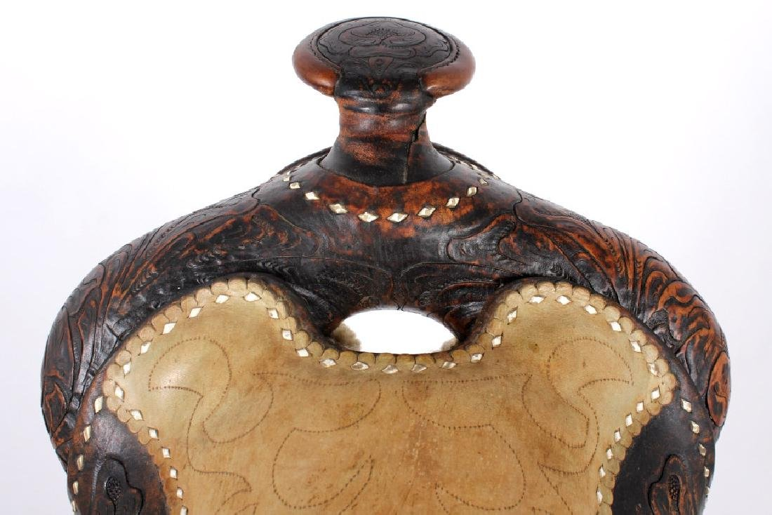 Antique Mexican Tooled Western Saddle - 7