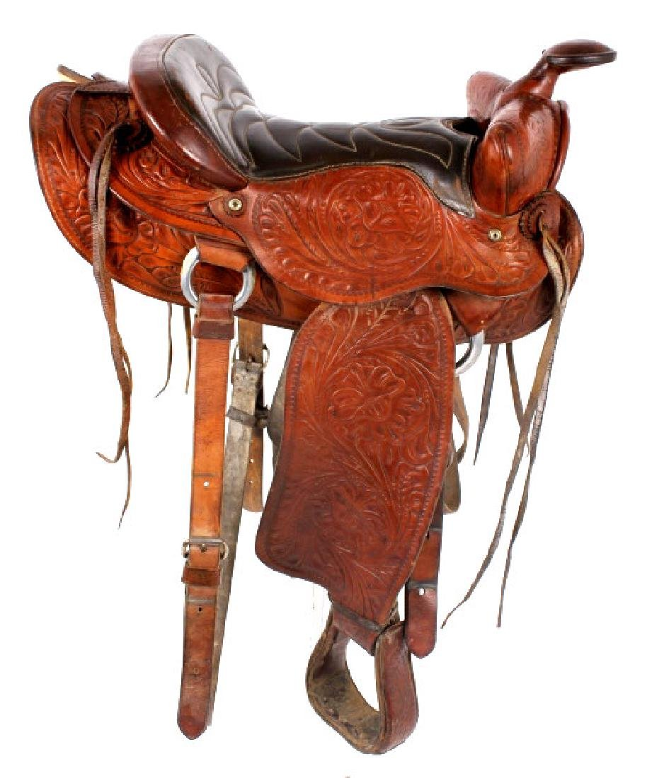 Vintage Western Ornate Tooled Saddle