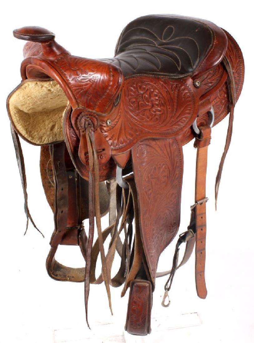 Vintage Western Ornate Tooled Saddle - 3