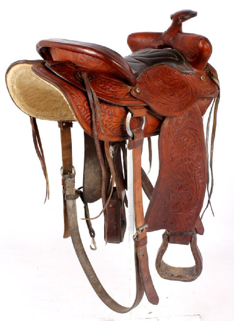 Vintage Western Ornate Tooled Saddle - 6
