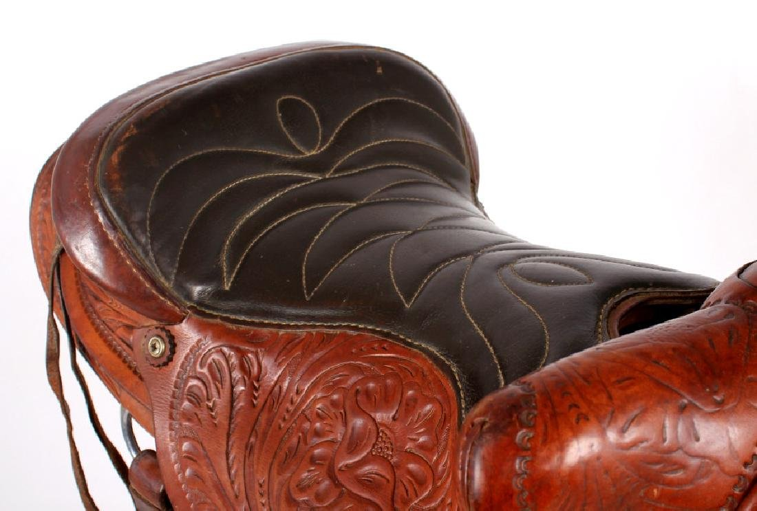 Vintage Western Ornate Tooled Saddle - 8