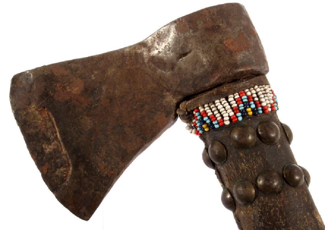 Cheyenne Indian Beaded & Hide Trade Axe - 2