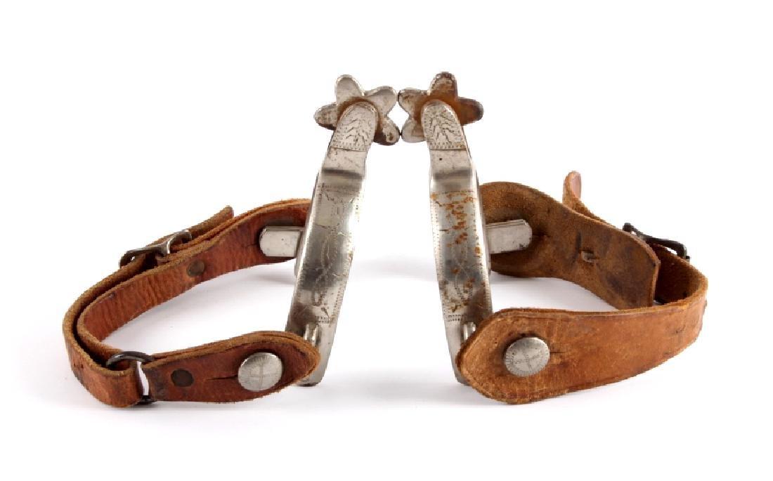 Antique Crockett Spurs with Leather Straps