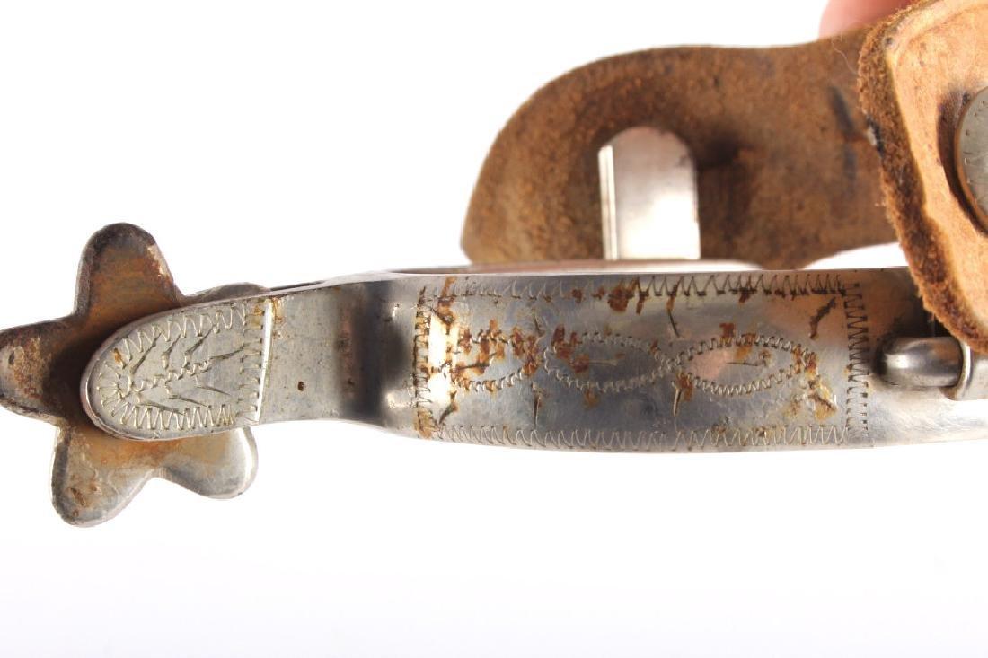 Antique Crockett Spurs with Leather Straps - 8