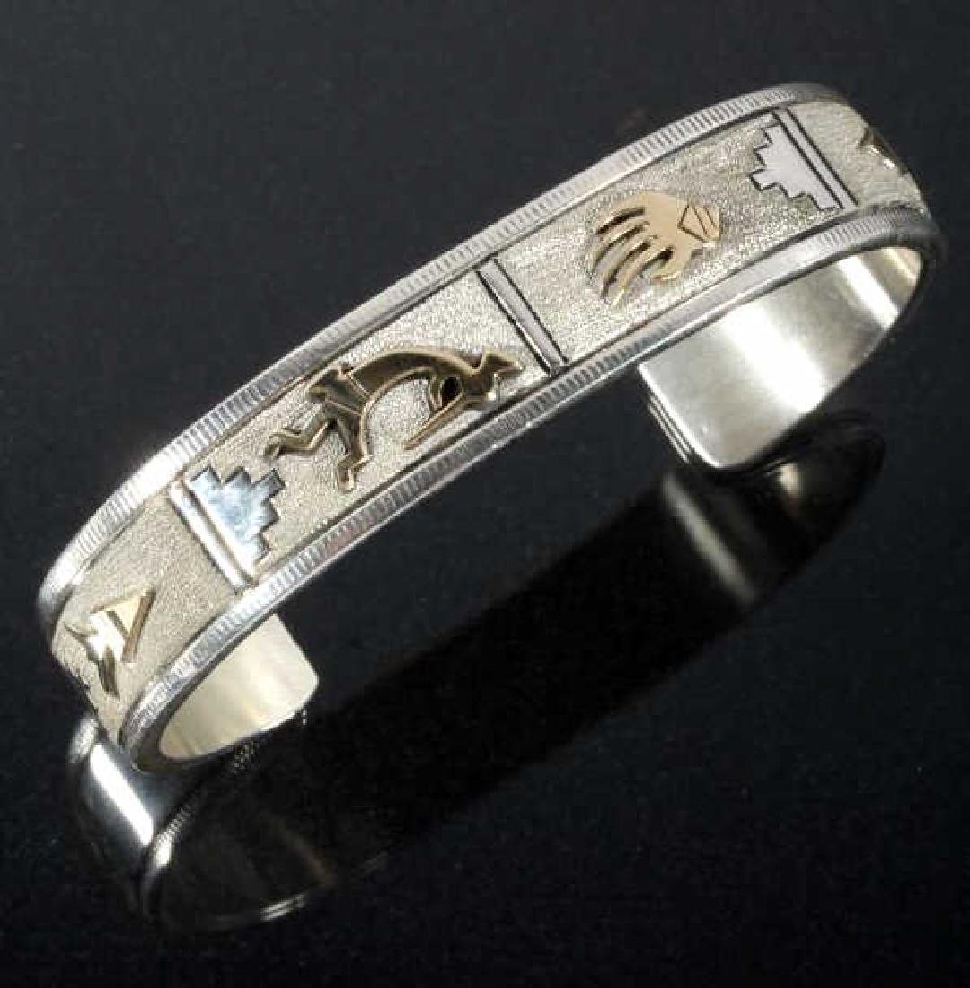 Navajo - L Bennett Sterling & 14k Gold Filled Cuff