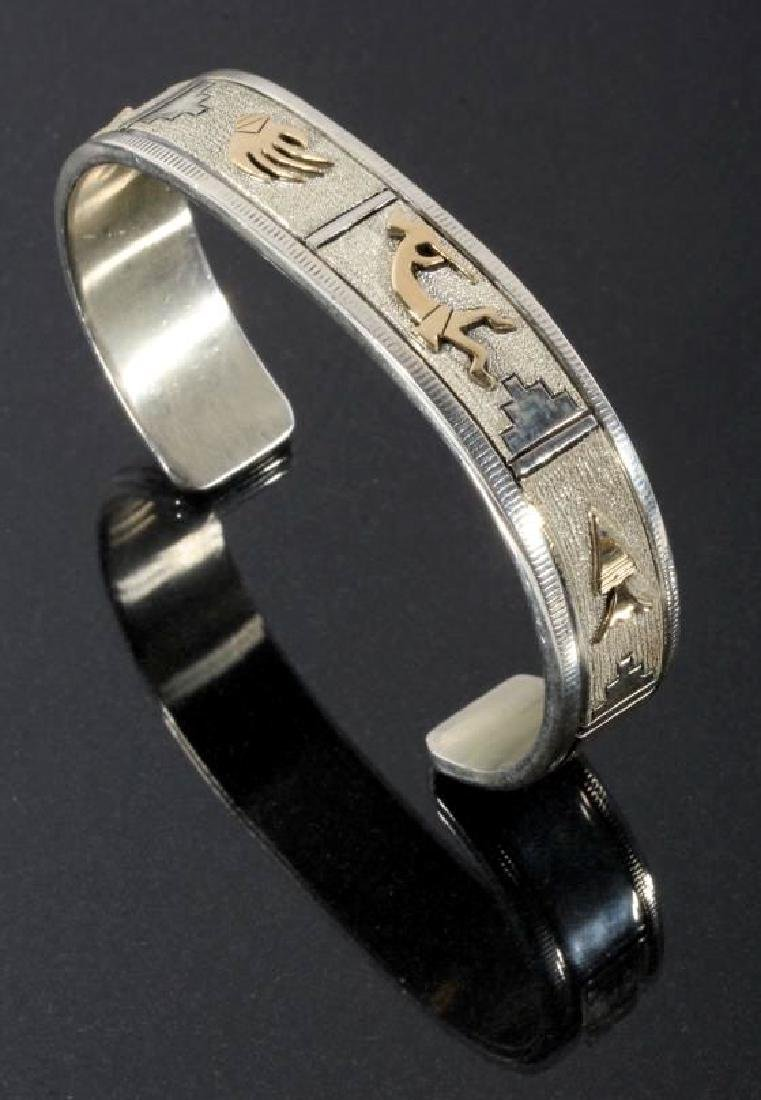 Navajo - L Bennett Sterling & 14k Gold Filled Cuff - 5