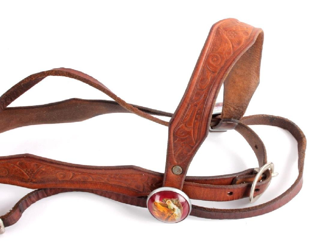 Tooled Leather Headstall w/ U.S. Cavalry Bit - 2