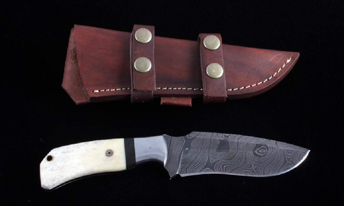 CFK Damascus Exotic Camel Bone Inlaid Horn Knife