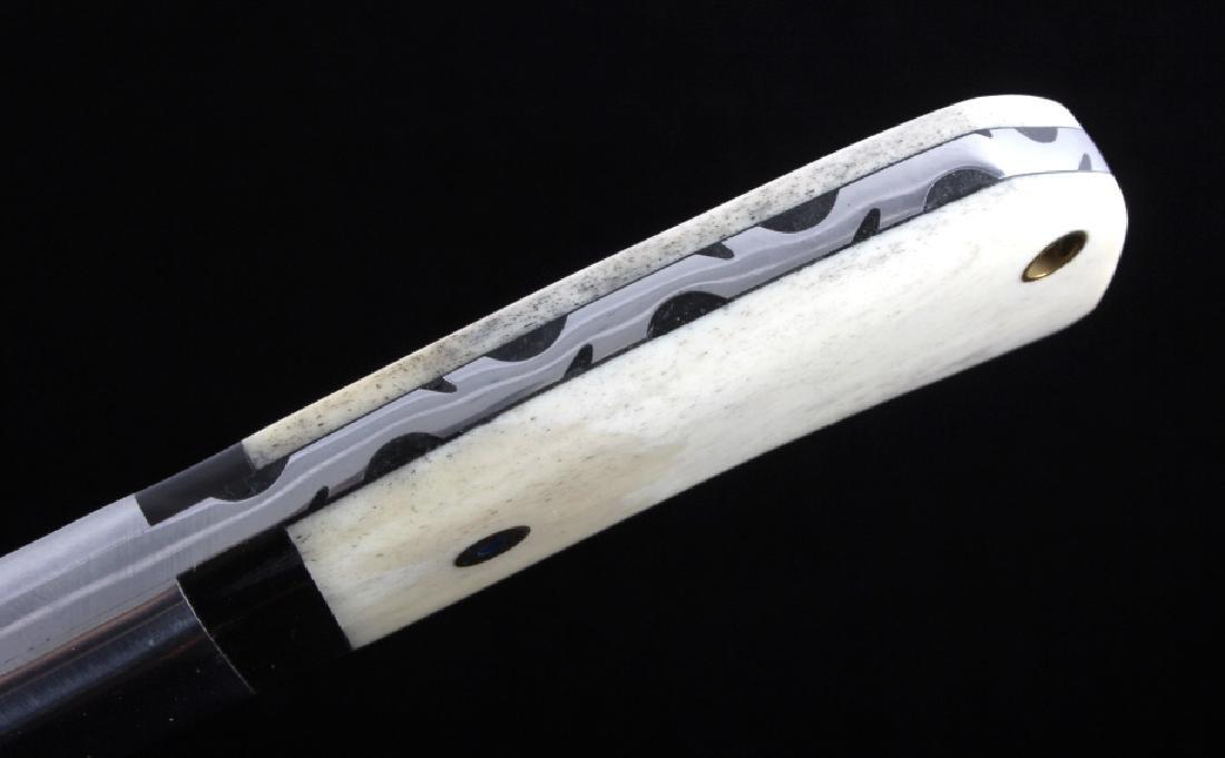 CFK Damascus Exotic Camel Bone Inlaid Horn Knife - 6