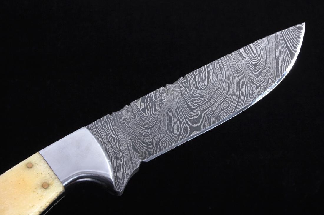 CFK Damascus Exotic Camel Bone Knife & Scabbard - 2