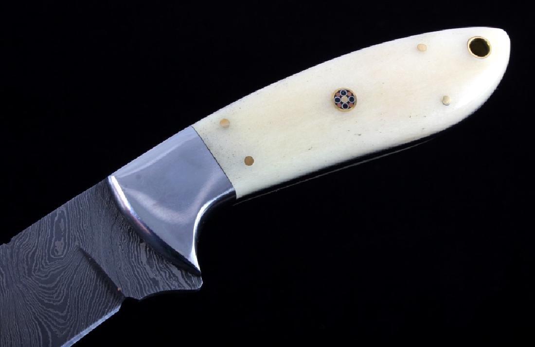 CFK Damascus Exotic Camel Bone Knife & Scabbard - 4