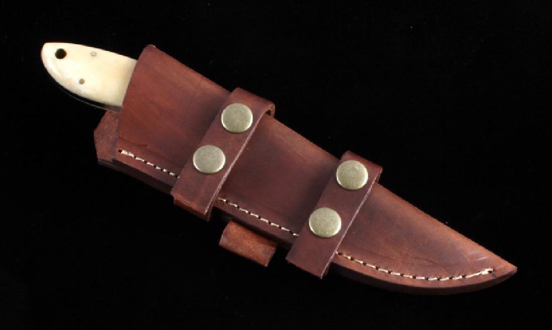 CFK Damascus Exotic Camel Bone Knife & Scabbard - 9
