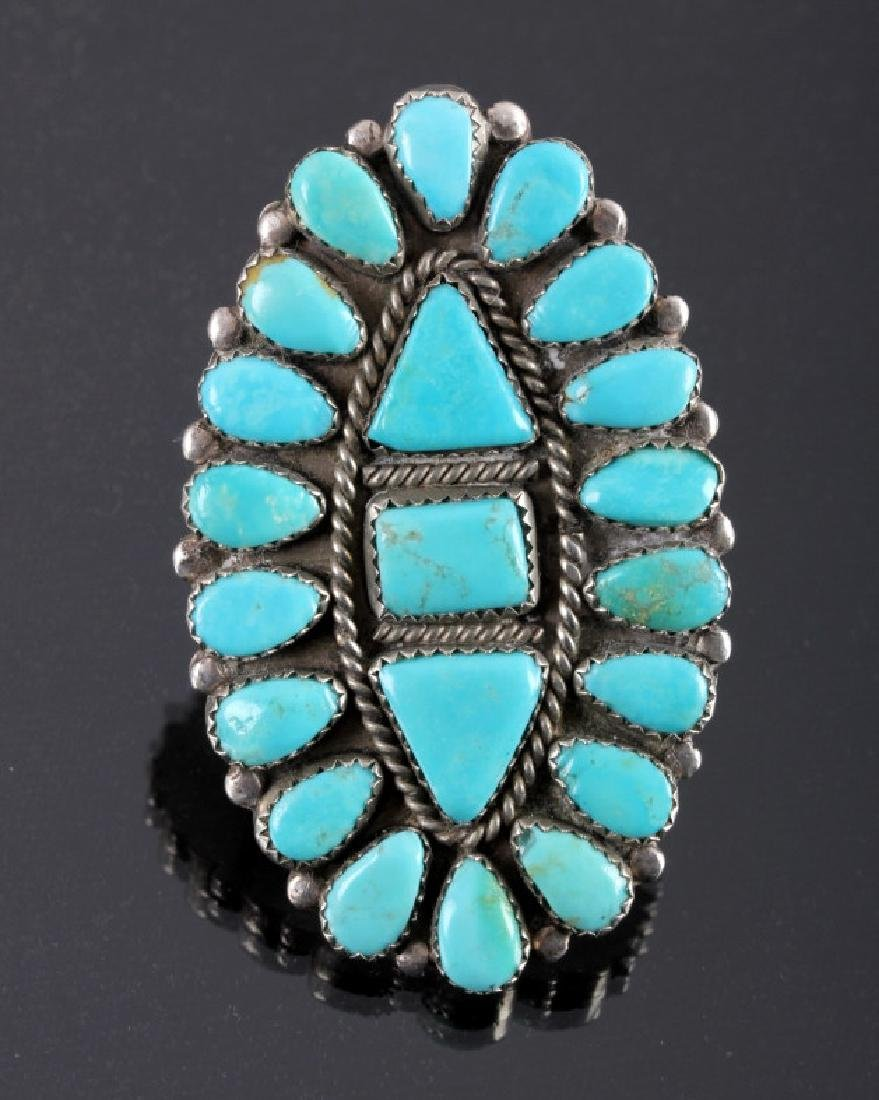 Navajo Sterling Silver Turquoise Petit Point Ring