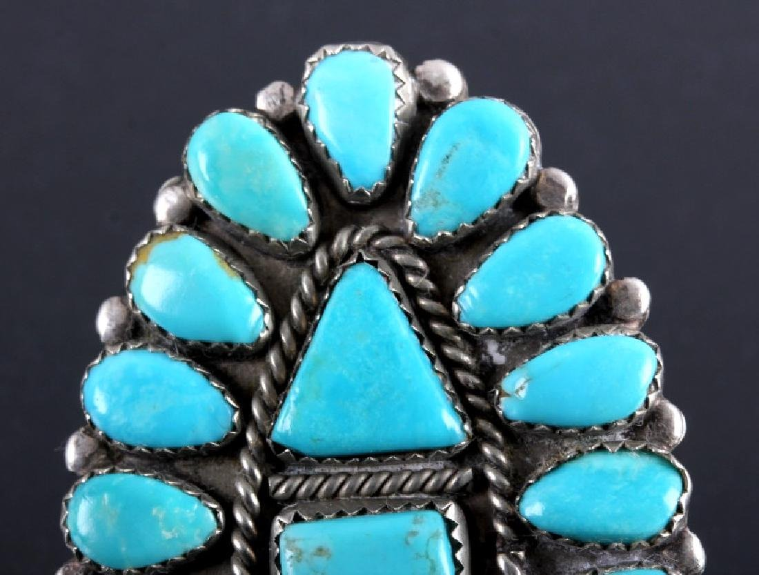 Navajo Sterling Silver Turquoise Petit Point Ring - 2