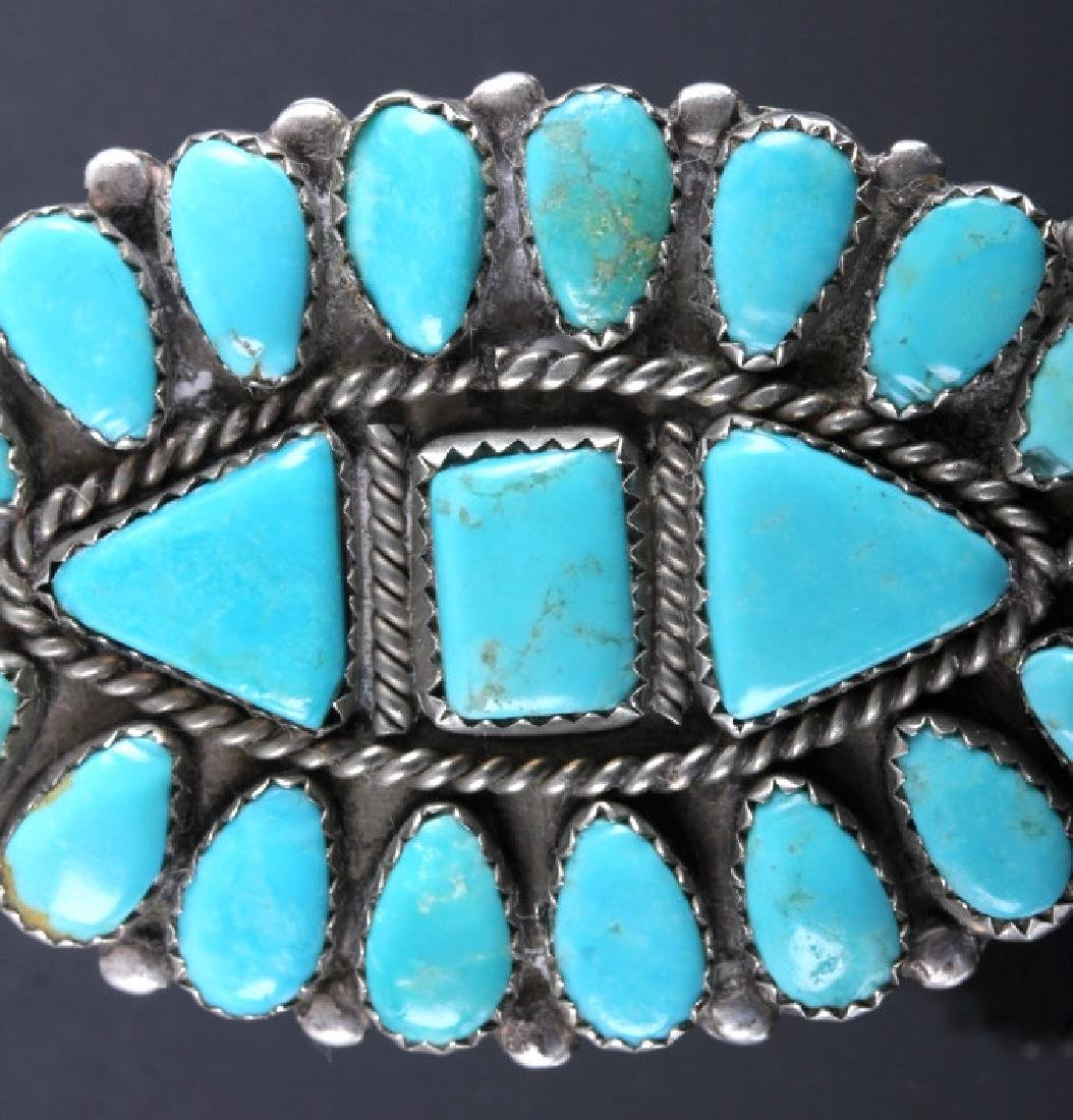 Navajo Sterling Silver Turquoise Petit Point Ring - 3