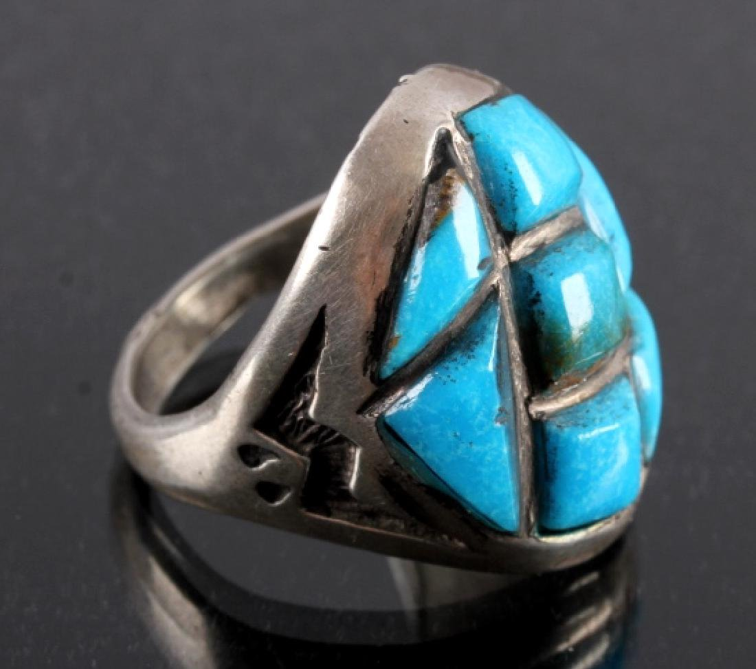 Navajo Sterling Silver Turquoise Ring - 2