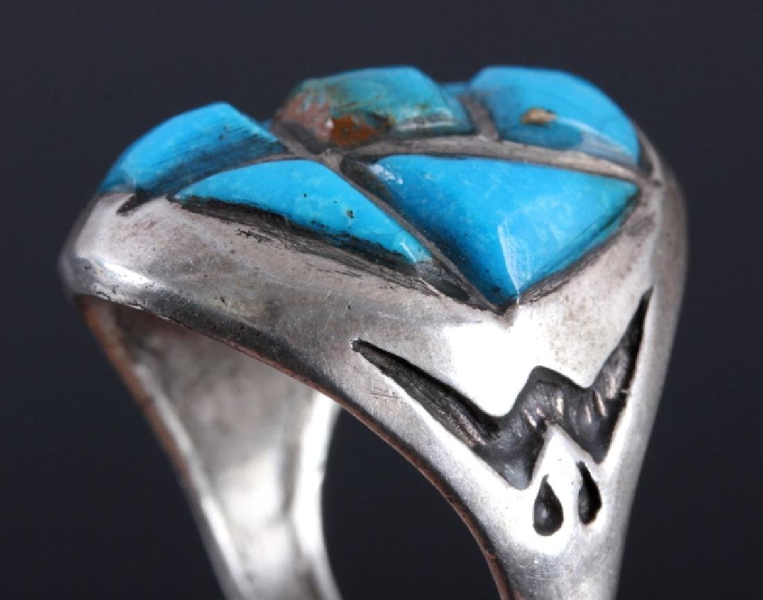 Navajo Sterling Silver Turquoise Ring - 4